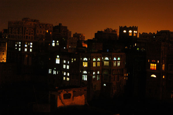 Lights of a traditional Yemeni house in Old Town Sanaa from Arabia Felix Hotel