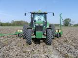 Planting soybeans No-Till in corn stubble.JPG