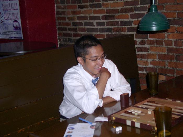 Mark just having fun at Backgammon