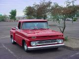 red Chevy pickup truck
