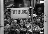 Demonstrating against US president Reagans visit to the German town of Bitburg