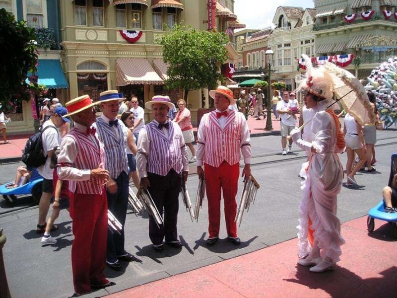 Barbershop quartet on Main Street in DIsney World
