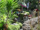 The rear garden has a network of narrow gravel paths, rocks, clusters of yuccas, topiary, sculptures all cheek-by-jowl