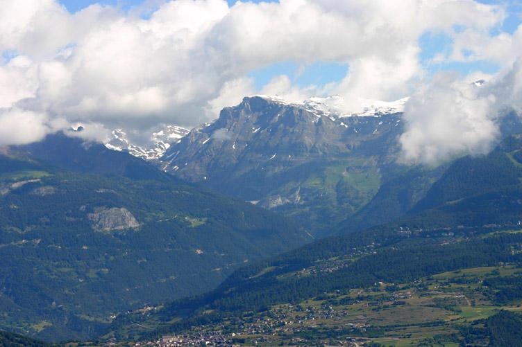 Looking over Lens to the Wetzsteinhorn 9128ft from Mayens - de - Nax