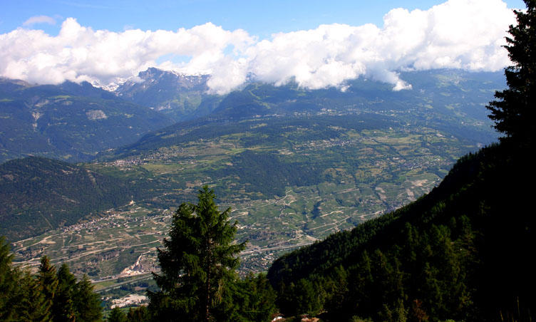The view over the Rhone valley towards Crans Montana from Mayens - de - Nax