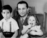 My father with my sister Judy and me, Chicago, 1947.