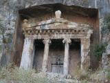 Going up for a closer look at this famous lycian rock tomb
