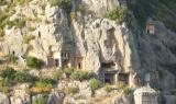 People here were especially prolific with these rock tombs and the sarcophogus type (you can see one treasure-box style one here). These are seen only in Lycian Turkey.