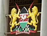 Kenyan Coat of Arms. Harambee means pulling all together at once.