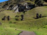 Many unfinished moai