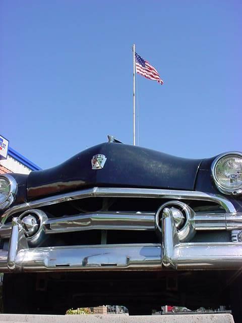 American Flag<br> black 1951 Ford <br>4 door sedan
