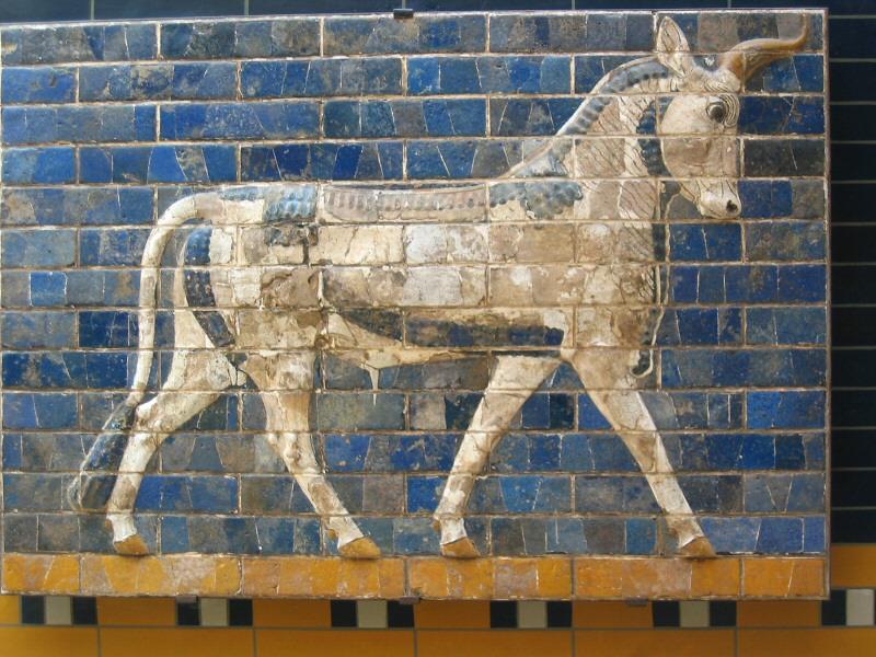 Glazed-brick tile mosaic of Persian bull,  from Babylons Ishtar Gate