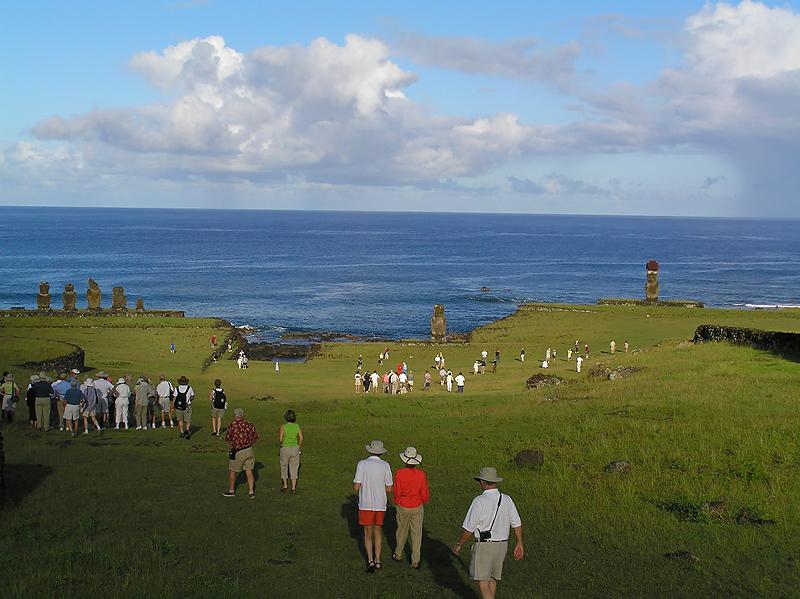 Ahu Tahai, site of restored moai