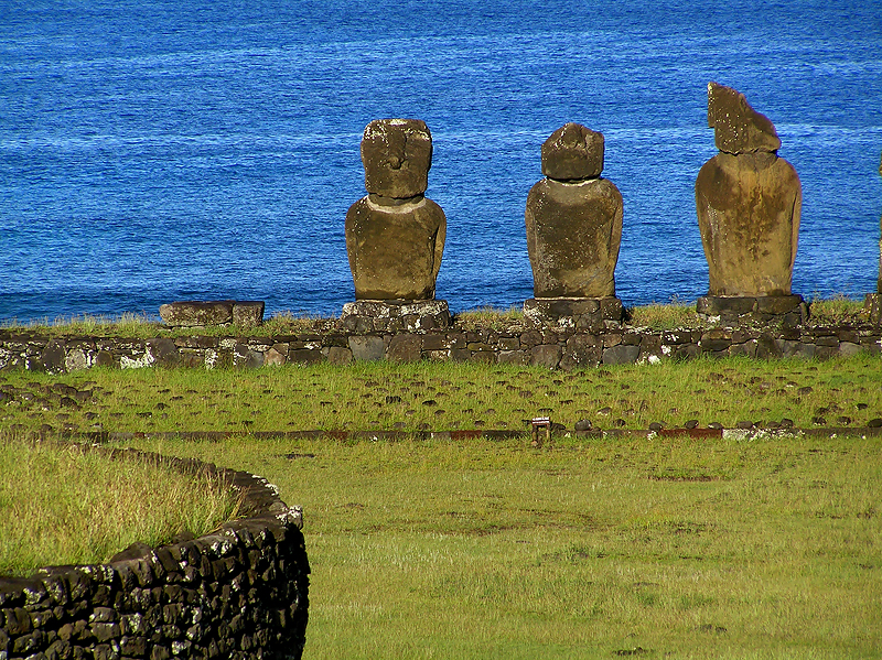 The stonework in front is an Ahu, platform for moai