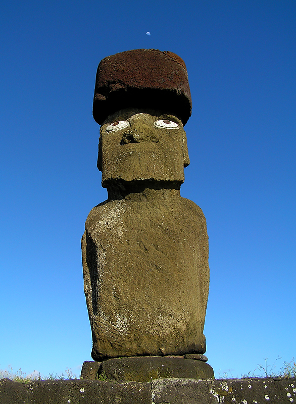 The larger moai weigh 30 or more tons