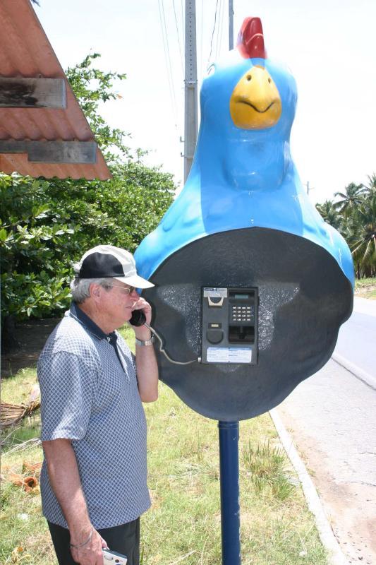 Phone booth in Chicken Port beach town