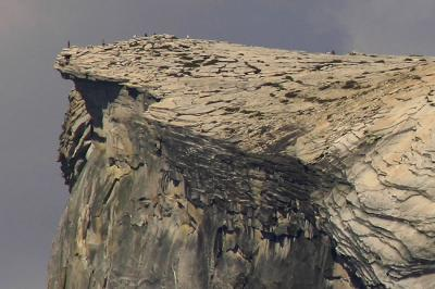 Hikers at the top of Half Dome