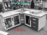 mobile inox con celle e cassettiere per banco bar