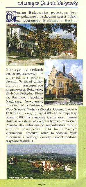 This Bukowsko brochure highlights the church and countryside. (double-click to read the accompanying Polish text)