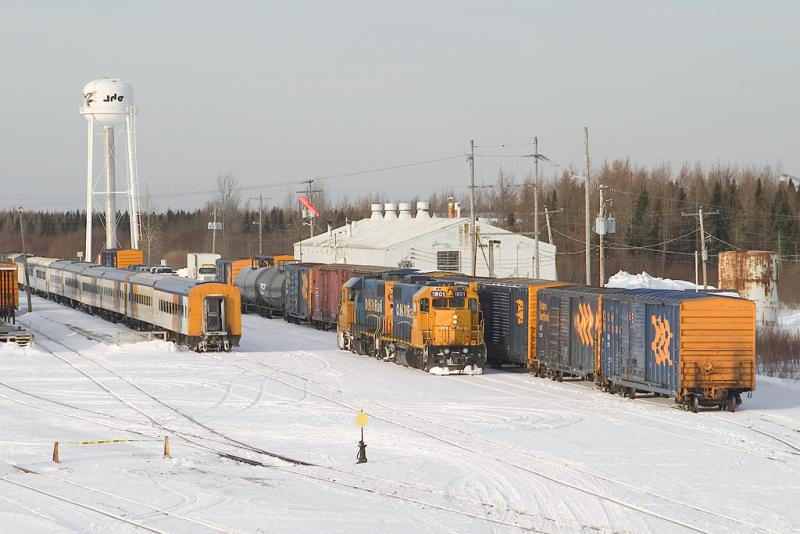 Freight switching completed, engines head to front of freight
