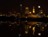 moon rises over cleveland