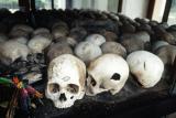 Skulls at the killing fields near Phnom Penh.