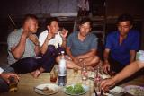 My driver Vichan(2nd from left) took me to a party at his wat in Bor Sang village. Yes, you must drink Mehkong.