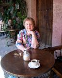 Nan in the biblioteca café