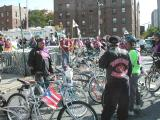 The Puerto Rican flag proudly flies from one of the many bikes in the Puerto Rican Schwinn Bicycle Club display area.
