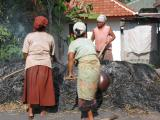 the fire for the pottery on the island of Lombok