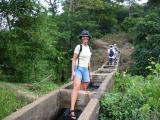 leaving the village via the water channels that go over the gorge that surrounds the village