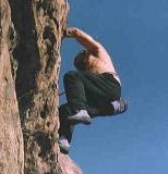 Gary climbing Chatsworth Sandstone