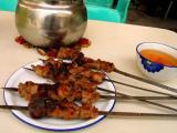Kebabs and tea standard Uygur meal