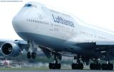 Lufthansa B747-430 D-ABVO takeoff at Miami International Airport aviation stock photo