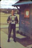 Bill Ochinero with the Volley ball trophy the Gypsy team won in 1954.