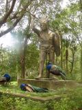 Some peacocks have found a temporary home on this statue