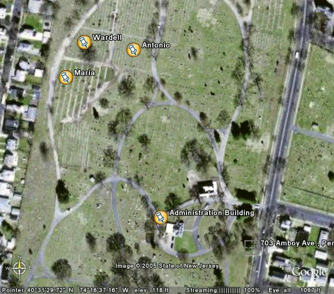 Google Earth photo showing gravesites