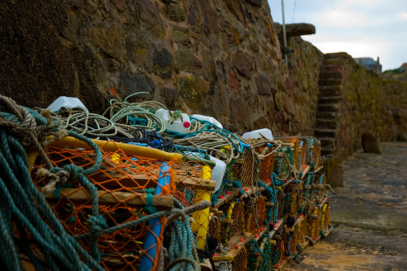 Crail Pots and Harbour Wall.