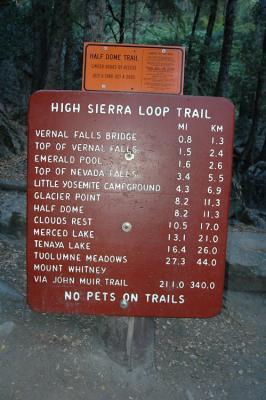 Nevada Fall Trail Sign