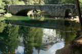 Ahwahee Bridge with reflection of North Dome & Royal Arches