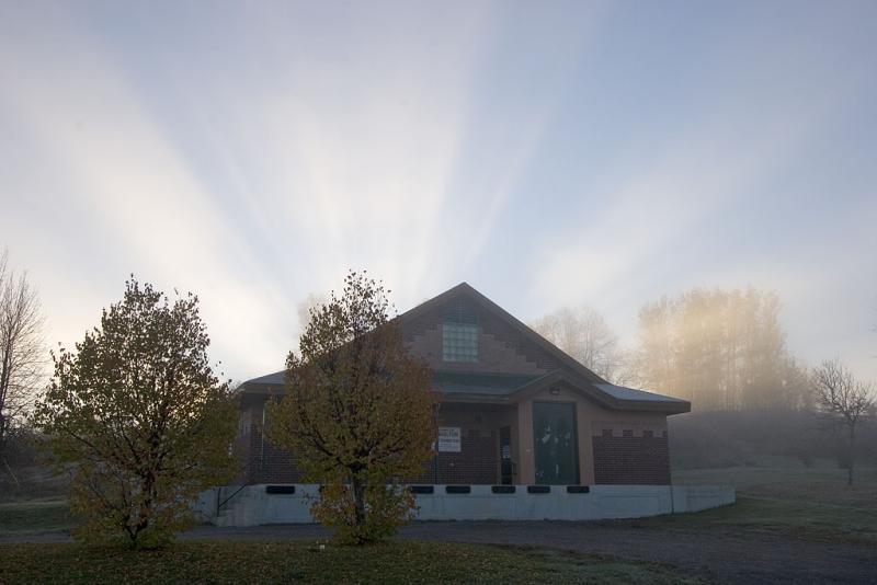 Sunrise above Charlton water treatment plant