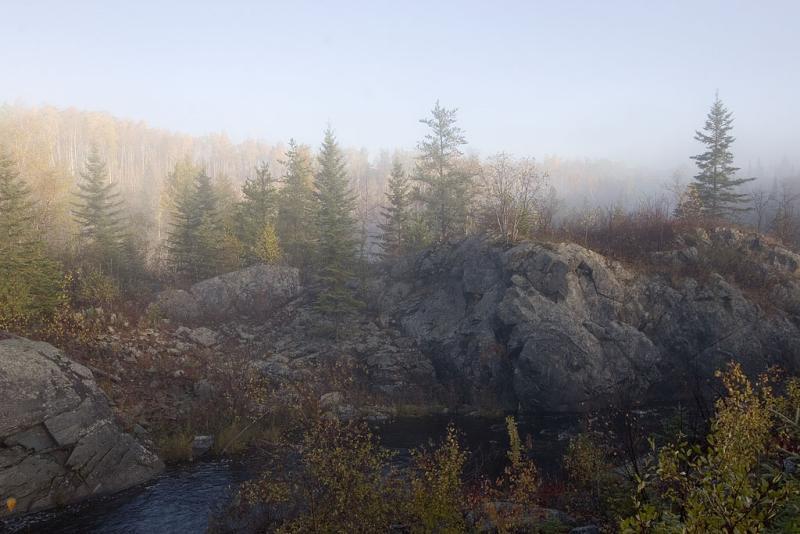 Small falls on Englehart River at Charlton, Ontario