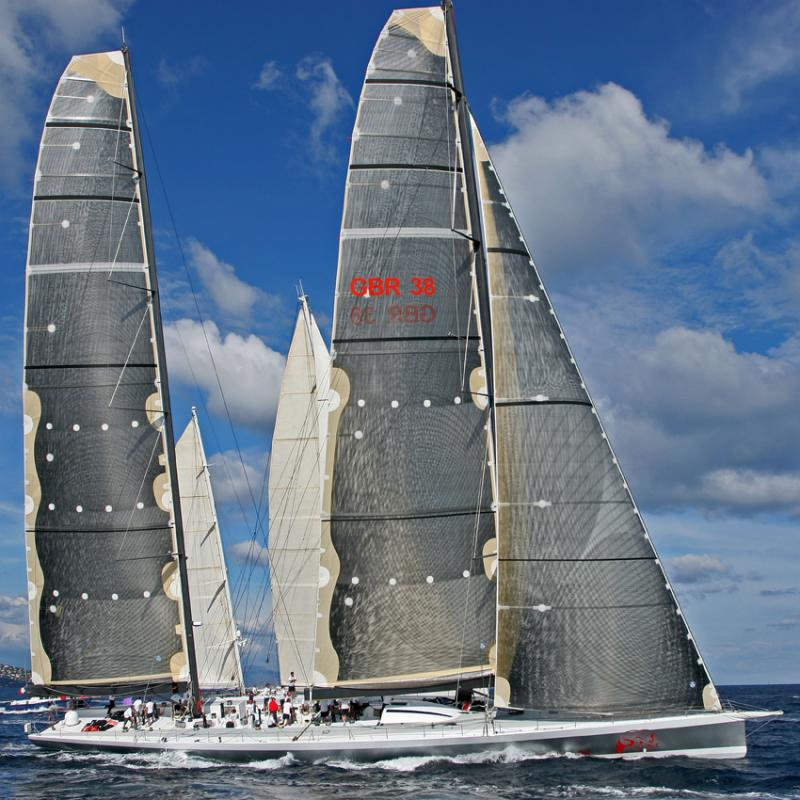 Voiles de Saint-Tropez 2005 -  Mari Cha IV in regatta against Mari Cha III