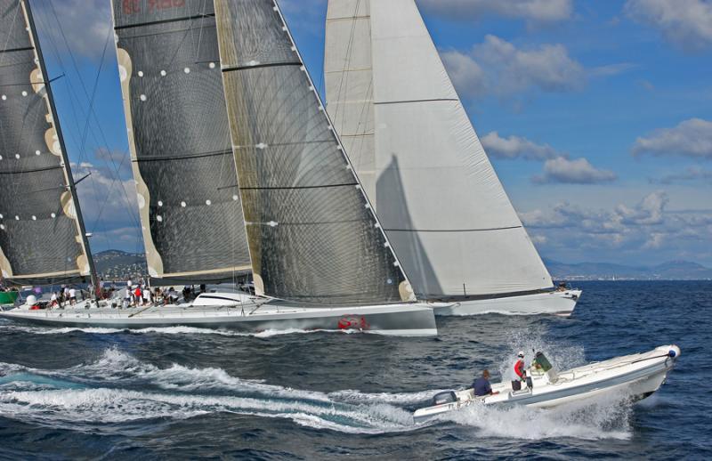 Voiles de Saint-Tropez 2005 -  Mari Cha IV in regatta against Mari Cha III