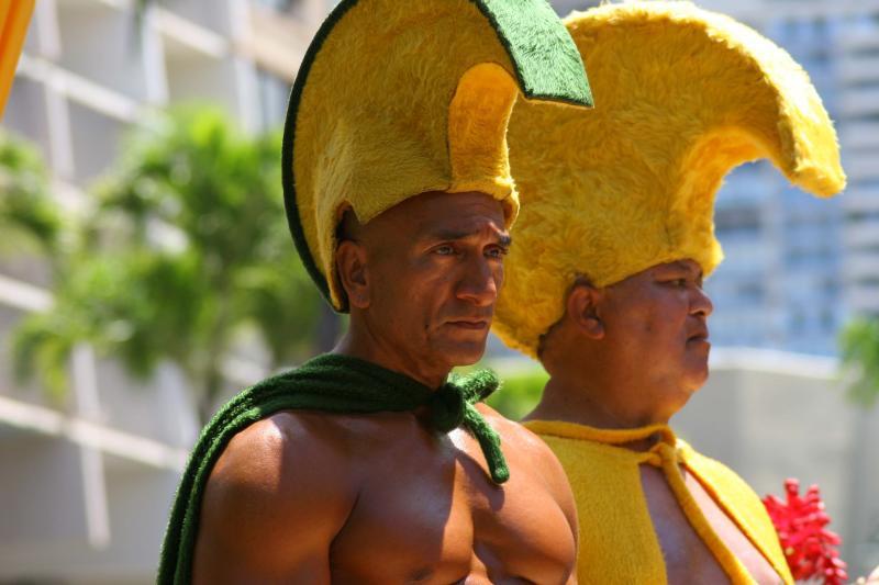 Standing in for King Kamehameha