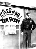 Gypsy pilot Andy Anderson by the Gypsy Mess Hall at K-16 in 1954