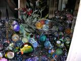 J Howard dragonfly goblet and marbles, Swarovski Paradise in the back