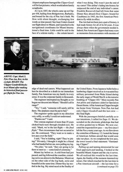 1992 - Airline Pilot magazine (ALPA) - photo of the last Pan Am flight worldwide