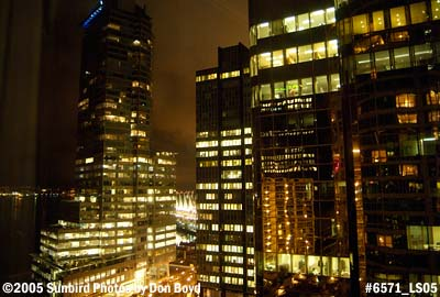 Downtown high-rise buildings at night in Vancouver, BC, stock photo #6571