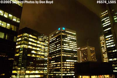 Downtown high-rise buildings at night in Vancouver, BC stock photo #6574